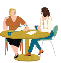2 friends sitting at a table illustration